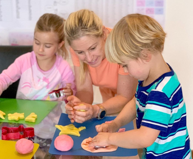 Alisa Camplin with her two children