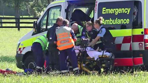 The 35-year-old woman was airlifted to hospital in a serious condition.