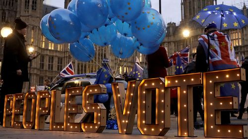 Pro EU protesters demonstrate outside the British Houses of Parliament calling for a People's Vote in London.