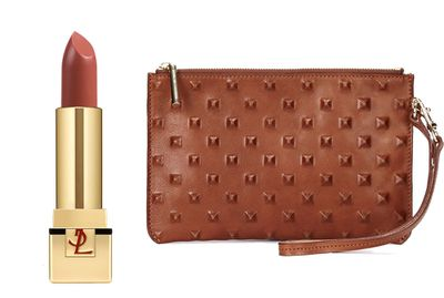 "<a href=""http://www.scanlantheodore.com/bags/c48765-embossed-stud-pouch"" target=""_blank"">Rouge Pur Couture in Beige Etrusque, $55, Yves Saint Laurent</a> and&nbsp;<a href=""http://www.scanlantheodore.com/bags/c48765-embossed-stud-pouch"" target=""_blank"">Pouch, $250, Scanlan &amp; Theodore</a>."