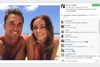 """Lisa sent fans into a tizz just before Christmas with this beach selfie with the 2014 <i>Cleo</i> Bachelor of the Year contestant.<br/><br/>'From coast to coast, Noosa bound for the next few days! #SUMMER,' she wrote to her 103,000 Instagram followers.<br/><br/>Fans barraged her page with """"so much better than Blake"""" comments..."""