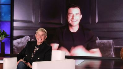 Ellen DeGeneres greets guest Orlando Bloom via video link.