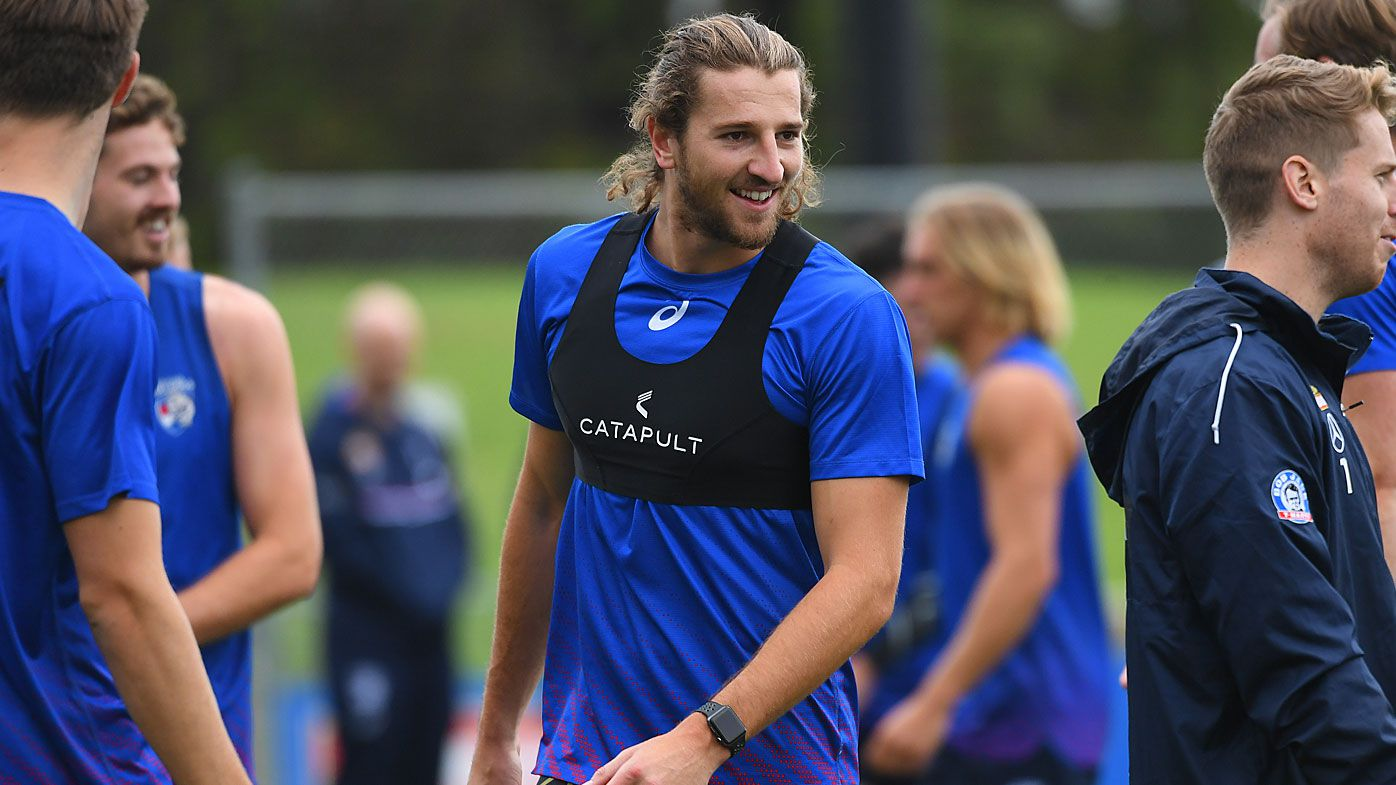 Marcus Bontempelli (centre) of the Bulldogs is seen during a Western Bulldogs AFL training session at VU Whitten Oval