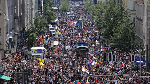 Coronavirus skeptics and right-wing extremists march in protest against coronavirus-related restrictions and government policy on August 29, 2020 in Berlin, Germany
