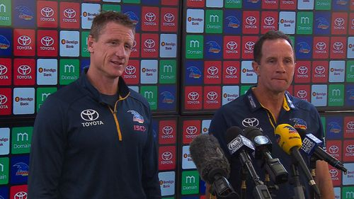 Coach Don Pyke and player manager Brett Burton were forced to defence the club's programs in a press conference today. Picture: 9NEWS