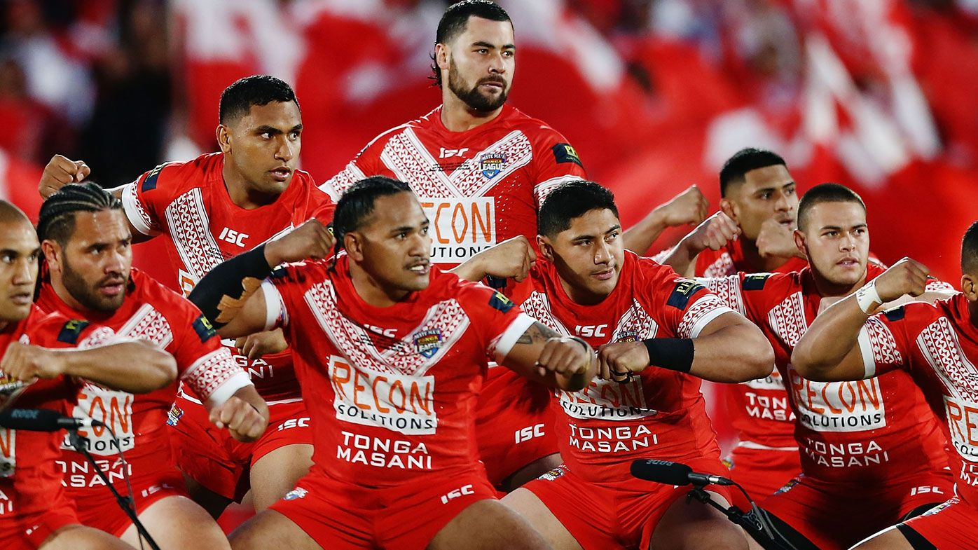 Tongan players line up for their nation
