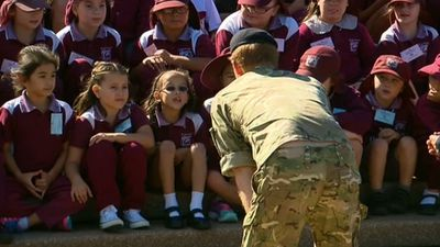 The prince was introduced to eager schoolkids. (9NEWS)