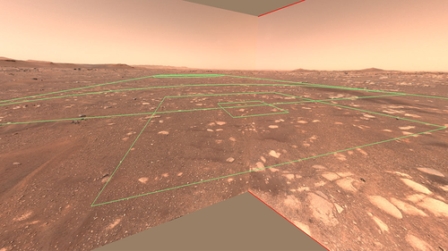 This image shows the flight zone of the Ingenuity helicopter from the perspective of the rover.