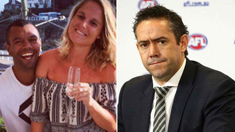 Former AFL Operations manager SImon Lethlean seen at AFL functions with Kurtely Beale's girlfriend Maddi Blomberg last year