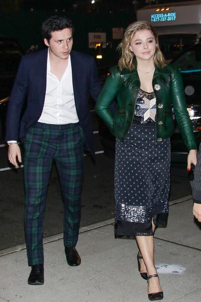 "<p>Aspiring photographer Brooklyn Beckham has borrowed a power dressing move from his parents Victoria and David on a date with Hollywood actress Chloe Moretz Grace. </p> <p>The on-again, off-again young couple stepped out at the <a href=""https://style.nine.com.au/2017/11/29/16/23/hailey-baldwin-shirtsress-fn-awards"" target=""_blank"">FN Achievement Awards</a> in New York, in complementary, well-coordinated ensembles.</p> <p>Grace's Coach dress, and bottle green leather jacket was perfectly picked up by Beckham's Black Watch tartan trousers.</p> <p>It's a paparazzi proof move mastered by Posh and David in the days before they became a combined fashion force and were merely Hello magazine fodder.</p> <p>Take a look at Victoria and David's matchy-matchy moments.</p> <p> </p> <p> </p>"
