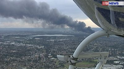 A view of the smoke from the approaching 9NEWS chopper.