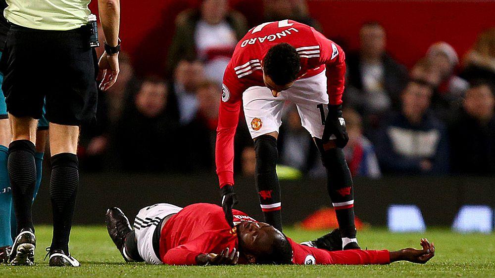 EPL: Manchester United star striker Romelu Lukaku stretchered off with head injury