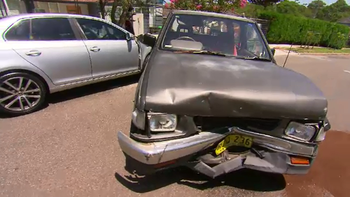 The stolen Holden slammed into a parked ute with so much force it was pushed to the other side of the road.