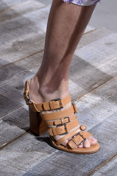 Leather straps, chunky buckles, a sexy silhouette.