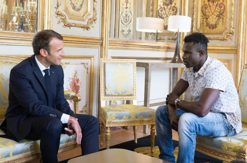 Mr Gassama with Mr Macron in May. (AAP)