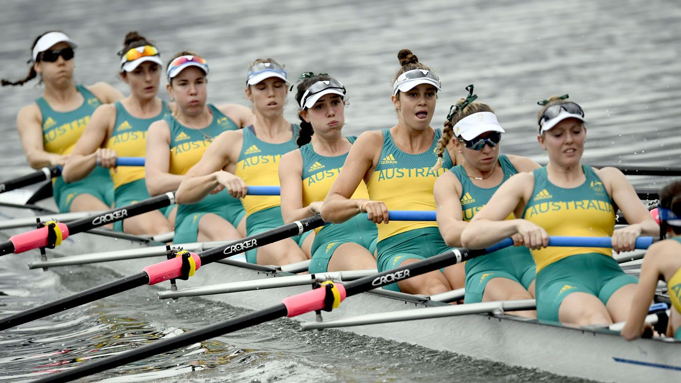 Australia's Fiona Albert,  Jessica Morrison, Alexandra Hagan, Meaghan Volker, Molly Goodman, Olympia Aldersey, Lucy Stephan, Charlotte Sutherland and Sarah Banting row during the Women's Eight. (AFP)