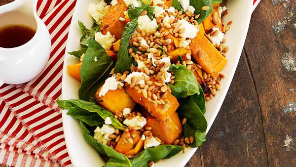Pumpkin salad with marinated fetta