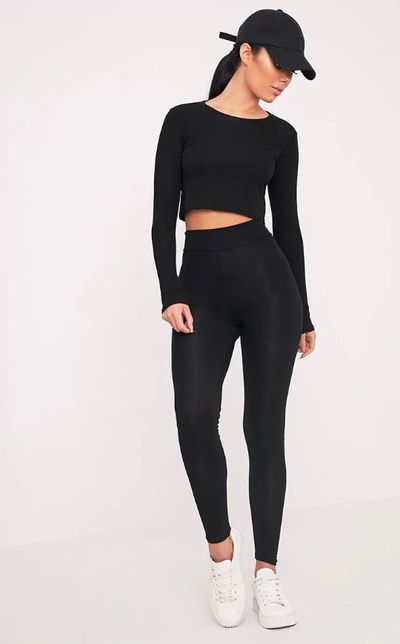 "<a href=""https://www.prettylittlething.com.au/dabria-black-high-waisted-jersey-leggings.html"" target=""_blank"">Pretty Little Thing Dabria Black High Waisted Jersey Leggings, $10.</a>"