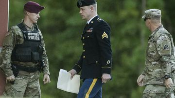 United States Army Sgt. Bowe Bergdahl arrives at the Fort Bragg courtroom facility for a sentencing hearing on Monday. Image: AP