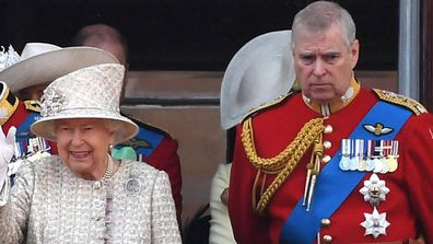 Prince Andrew and Her Majesty at Trooping of the Colour in 2019.