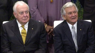Gough Whitlam and Bob Hawke in 2001. (AAP)