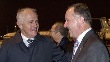 Malcolm Turnbull and John Key after touching down in Paris. (AAP)