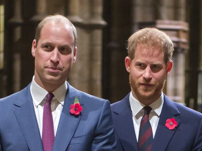 Princes William and Harry at a ceremony in 2018.