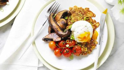 """<a href=""""http://kitchen.nine.com.au/2017/03/31/15/18/zucchini-fritters-with-portabella-mushrooms-and-poached-egg"""" target=""""_top"""">Zucchini fritters with portabella mushrooms and poached egg</a> recipe"""
