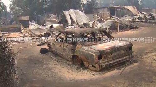 A burnt-out car. (9NEWS)