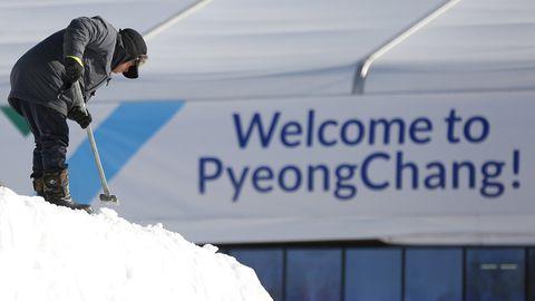 A South Korean man near the Olympic Stadium, in Pyeongchang, South Korea
