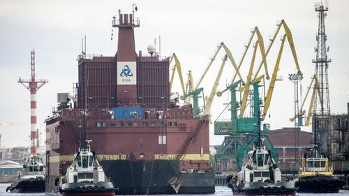 "The ""Akademik Lomonosov"", the world's first floating nuclear power plant, leaves St Petersburg, Russia. (EPA)"