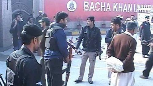 Security forces outside the university. (DunyaTV)