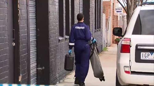 Forensics officers, homicide police and the SES remain on the scene as they investigate the remains. Picture: 9NEWS.