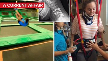 Woman calls for trampoline park ban after breaking neck