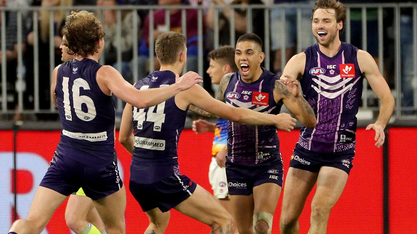 Michael Walters hits post after the siren to give Fremantle thrilling win over Brisbane Lions