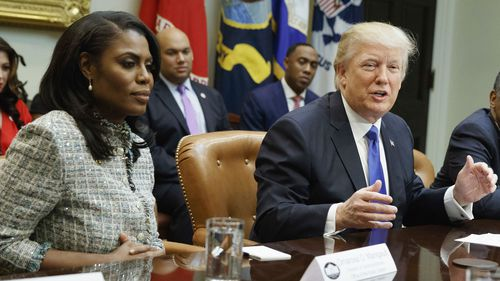 Omarosa Manigault in the White House with President Donald Trump. (AAP)