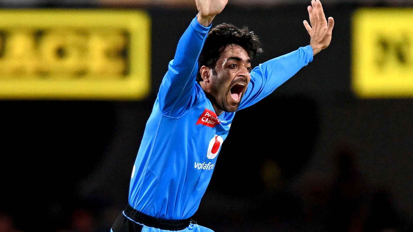 Adelaide's Rashid Khan appeals for a wicket in the BBL.