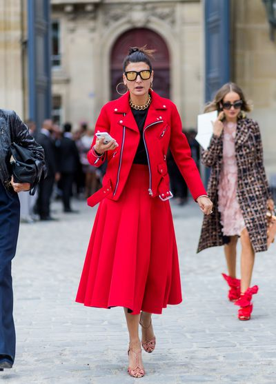 Giovanna Battaglia is perfect in red.