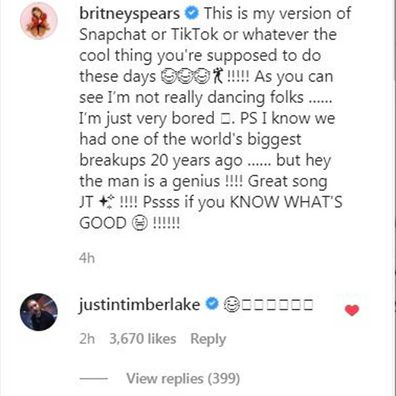 Justin Timberlake comments on Britney Spears' video.