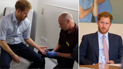 Prince Harry being tested for HIV. (Facebook/The Royal Family)