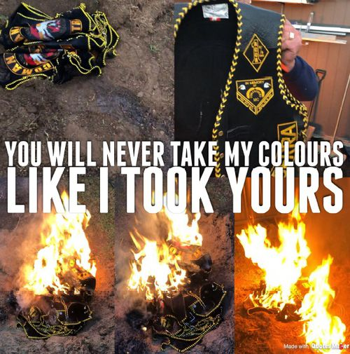 The Snapchat messages show former Commanchero ACT Chapter Commander Peter Zdravkovic holding club branded clothing, which are then placed in a pile set on fire.