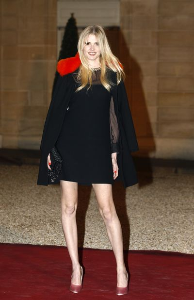 Lara Stone attends a state dinner  at the Elysee Presidential Palace  in Paris.
