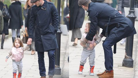 Harper Beckham steps out in $111 gumboots with daddy David