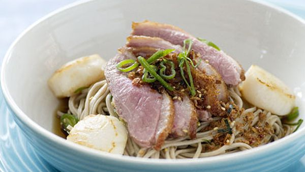 Duck and sea scallop soba noodles