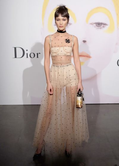 Bella Hadid at the Dior Beauty Art of Colour Exhibition in New York on October 25, 2016.