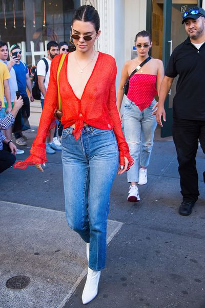 Kendall Jenner (with Bella Hadid) in Chelsea, New York, July, 2017