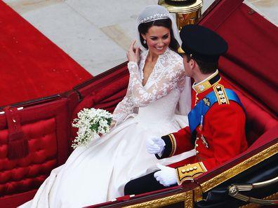Kate Middleton and Prince William on their 2011 royal wedding