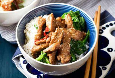 """Recipe: <a href=""""/recipes/ipork/8348908/sesame-pork-stir-fry"""" target=""""_top"""">Sesame pork stir-fry</a>"""