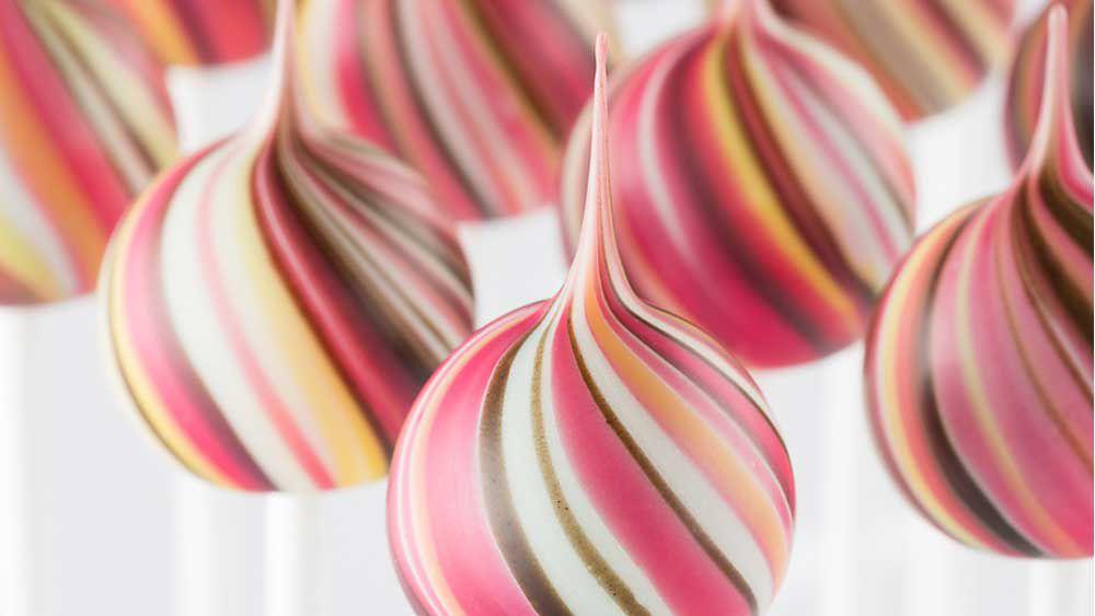 Ruby chocolate lollipops