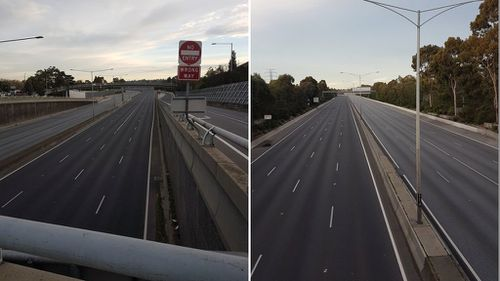 """One Twitter user walking across one of the freeway's footbridges remarked that he'd """"Never seen the Monash Freeway like this at 8am"""". (9NEWS/Lachie Buszard)"""